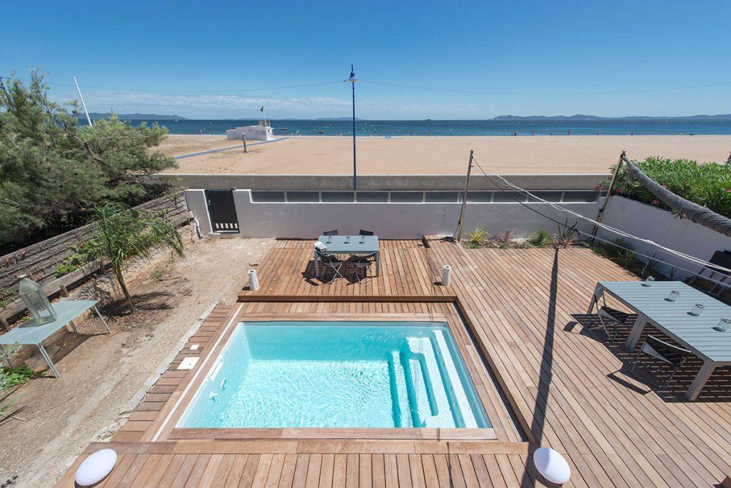 Terrasse coulissante piscine